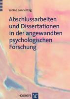 Abschlussarbeiten und Dissertationen in der angewandten psychologischen Forschung PDF