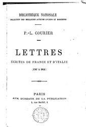 Lettres écrites de France et d'Italie (1787-1812).