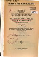 Expansion of United Nations Headquarters  Hearing Before the Subcommittee on International Organizations and Movements    91 2  on H J  Res  1146  April 23  1970 PDF