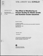 The Effect of Weathering on Octane Quality for Winter-grade and Summer-grade Gasolines