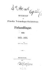 Öfversigt af Finska Vetenskaps-Societetens förhandlingar: Volume 16