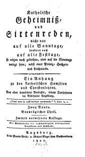 Katholische Geheimnis- und Sittenreden: Band 1