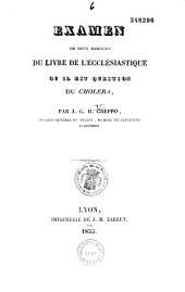 Examen de deux passages du Livre de l'Ecclésiastique ou il est question du choléra