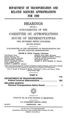 Department of Transportation and Related Agencies Appropriations for 1999