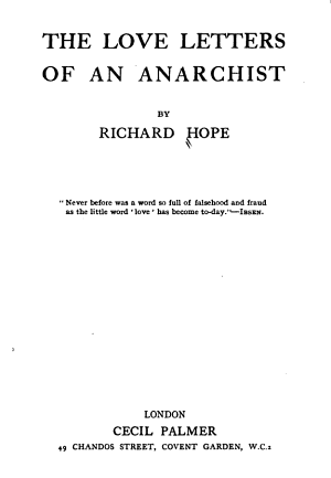 The Love Letters of an Anarchist