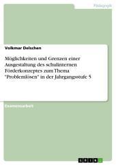 """Möglichkeiten und Grenzen einer Ausgestaltung des schulinternen Förderkonzeptes zum Thema """"Problemlösen"""" in der Jahrgangsstufe 5"""