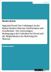 """Die Bedingungen der Unfreiheit bei Sigmund Freud und die Möglichkeiten der Befreiung bei Herbert Marcuse: """"Das Unbehagen in der Kultur"""" und """"Triebstruktur und Gesellschaft"""""""