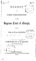 Digest of the Decisions of the Supreme Court of Georgia PDF