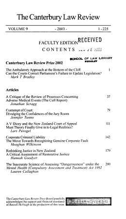 The Canterbury law review PDF
