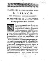 """Begin. Clarissimo doctissimoque viro D. Salmo, etc. [A letter relative to the """"Epistola plurium doctorum ... de ratione Indicis Sorbonici"""" by F. Salmon and others.]"""