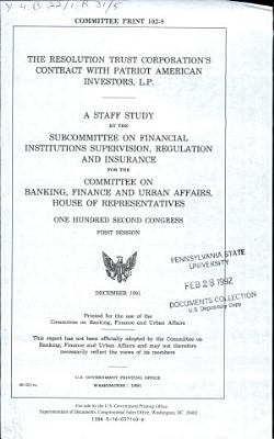 The Resolution Trust Corporation's Contract with Patriot American Investors, L.P.