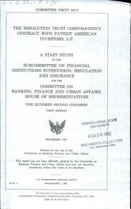 The Resolution Trust Corporation s Contract with Patriot American Investors  L P  Book