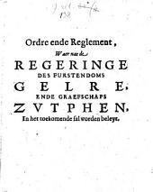 Ordre ende Reglement, Waer nae de Regeringe Des Furstendoms Gelre Ende Graefschaps Zvtphen, In het toekomende sal worden beleyt