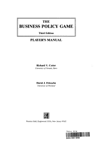 The Business Policy Game PDF