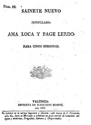 Saynete intitulado  El Ama loca  y el page lerdo  etc PDF