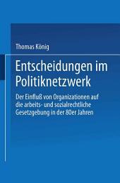 Entscheidungen im Politiknetzwerk: Der Einfluß von Organisationen auf die arbeits- und sozialrechtliche Gesetzgebung in den 80er Jahren