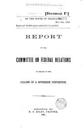 Report of the Committee on Federal Relations in Regard to the Calling of a Sovereign Convention