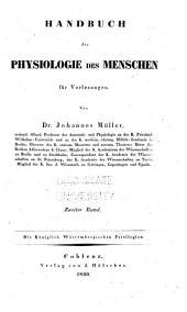 Handbuch der Physiologie des Menschen für Vorlesungen: Band 2,Ausgabe 3