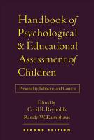 Handbook of Psychological and Educational Assessment of Children PDF