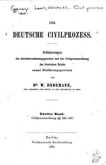 Der deutsche civilprozess  Bd  Civilprozessordnung  section symbol  section symbol  230 567 PDF