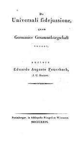 De universali fidejussione quam Germanice gesammtbürgschaft vocant
