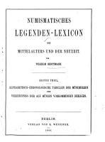 Numismatisches Legenden Lexicon des Mittelalters und der Neuzeit von Wilhelm Rentzmann PDF