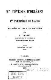 Mgr l'évêque d'Orleans et Mgr l'archevêque de Malines : première lettre à Mgr Deschamps
