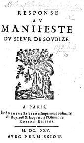 Response au Manifeste du Sieur de Soubize