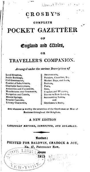 Download Crosby s Complete Pocket Gazetteer of England and Wales Book