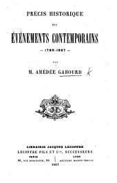 Précis historiques des événements contemporains, 1789-1867