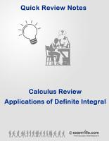 Calculus Quick Review Notes  Applications of Definite Integral PDF