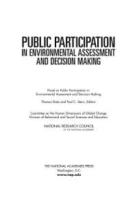Public Participation in Environmental Assessment and Decision Making Book
