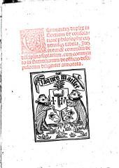 Commentum duplex in Boetium de consolatione Philosophie: Item in eundem commentum de disciplina scolarium Sancti Thome de Aquino