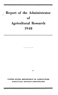 Report of the Administrator of Agricultural Research