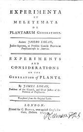 Experimenta et meletemata de plantarum generatione