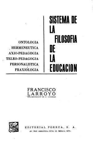 Sistema De La Filosofia De La Educacion