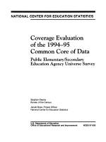 Coverage Evaluation of the 1994 95 Common Core of Data PDF