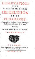 Dissertations sur diverses mati  res de religion et de philologie PDF