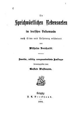 Die sprichw  rtlichen redensarten im deutschen volksmunde PDF