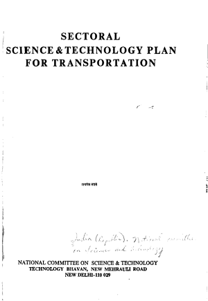 Sectoral Science   Technology Plan for Transportation PDF
