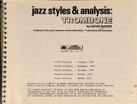 Jazz Styles & Analysis: Trombone