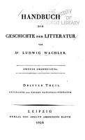 Handbuch der Geschichte der Litteratur PDF