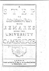 A Step to Stir-Bitch-fair [i.e. Sturbridge Fair]: With Remarks Upon the University of Cambridge