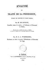 Analyse du traité de la possession, d'après les principes du droit romain