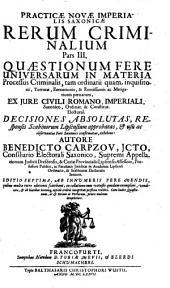 Practica nova Imperialis Saxonica Rerum Criminalium: Volume 3