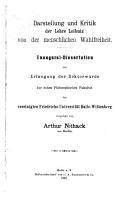 Darstellung und Kritik der Lehre Leibniz  von der menschlichen Wahlfreiheit PDF
