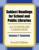 Subject Headings for School and Public Libraries  Bilingual Edition  4th Edition PDF
