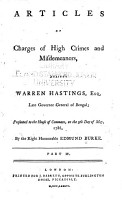 Articles of Charges of High Crimes and Misdemeanors  Against Warren Hastings  Esq  Late Governor General of Bengal PDF