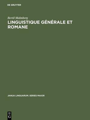 Linguistique g  n  rale et romane PDF