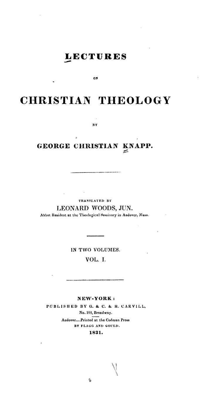 Lectures on Christian Theology